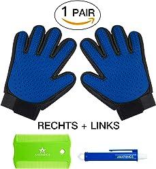 1 Paar = 2 Fellpflege-Handschuhe In verschiedenen Farben zur einfachen Entfernung loser Tierhaare, Massage für Hund & Katze PLUS Zeckenzange & Floh-kamm Von Amathings