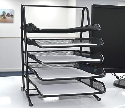 Soporte para bandejas de archivado de oficina de 5 niveles Organizador de almacenamiento de malla de alambre A4 para cartas de papel / Bandeja para ...