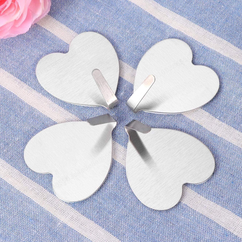 Asciugamani 10 Ganci Adesivi a Forma di Cuore in Acciaio Inox Color Argento per Cappotti Borse Argento AYUN Chiavi