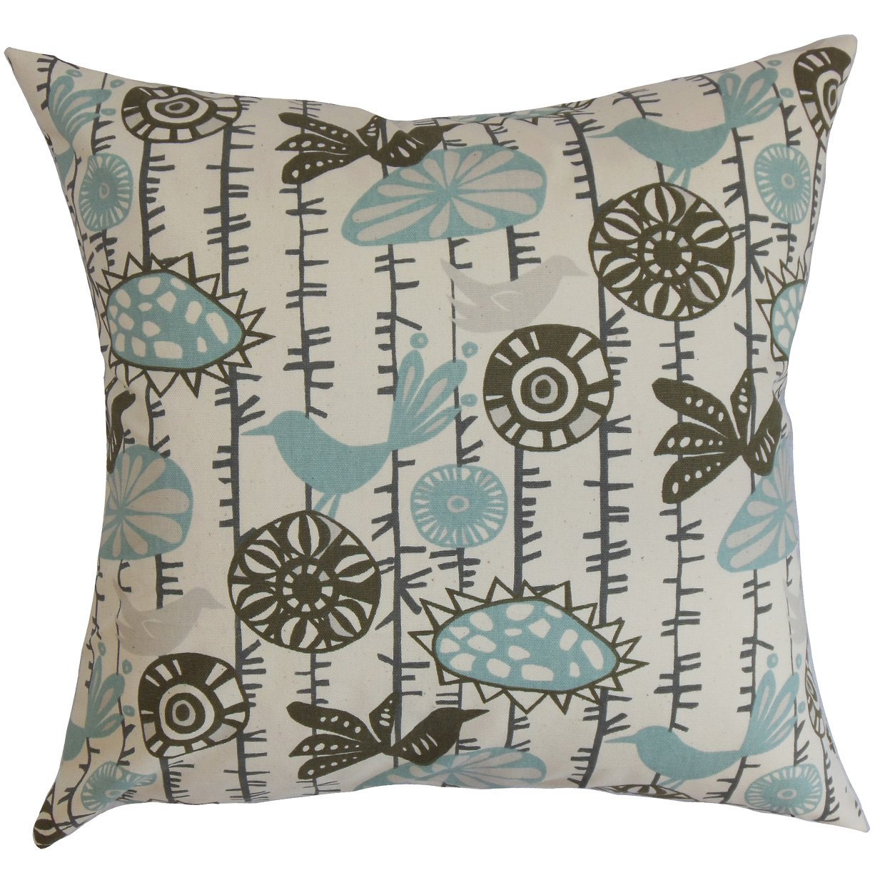King//20 x 36 The Pillow Collection Nettle Floral Bedding Sham Village Blue Natural