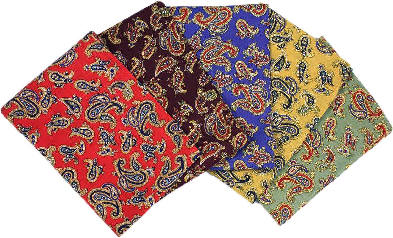 Soprano Pack of 5 Paisley Cotton Pocket Squares