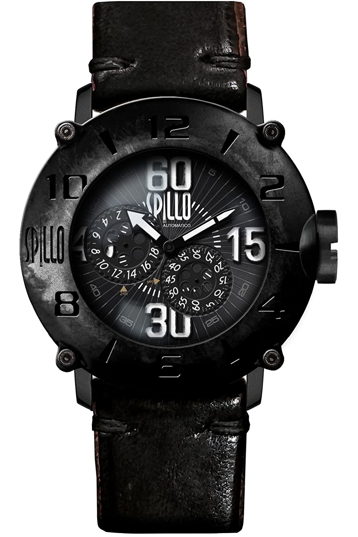 [スピーロ] SPILLO OUTLAW OL917KK-02BLACK マットブラック/ブラック ヴィンテージ加工 ホースレザー 自動巻き メンズ腕時計 日本総代理店 [正規輸入品] B075GSBTDD
