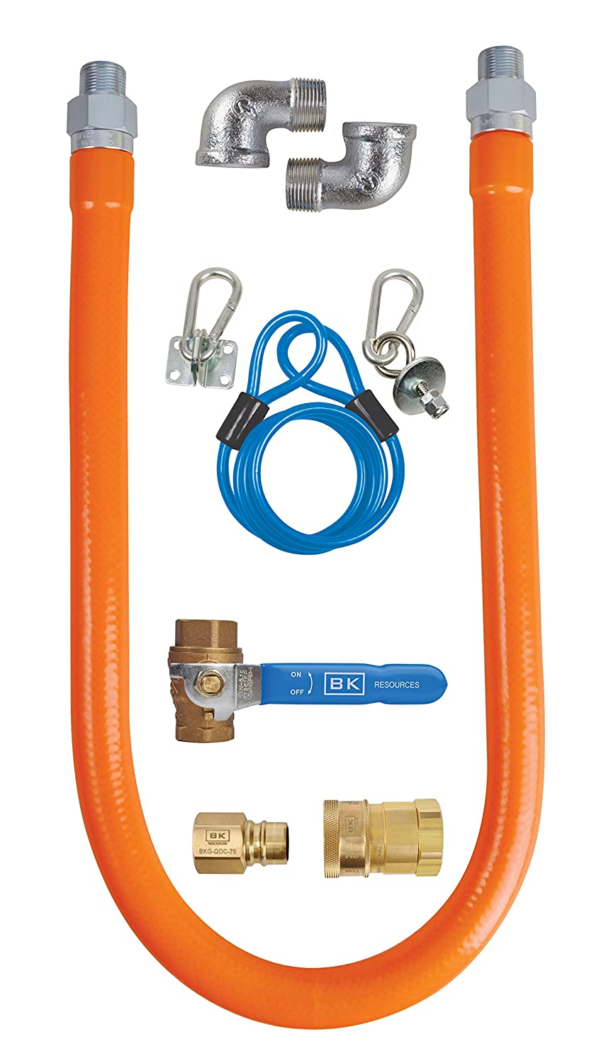 1//2 Inch Diameter BK Resources Gas Hose Connection Kit #3 with Accessories 48 Inch Long Hose BKG-GHC-5048-SCK3