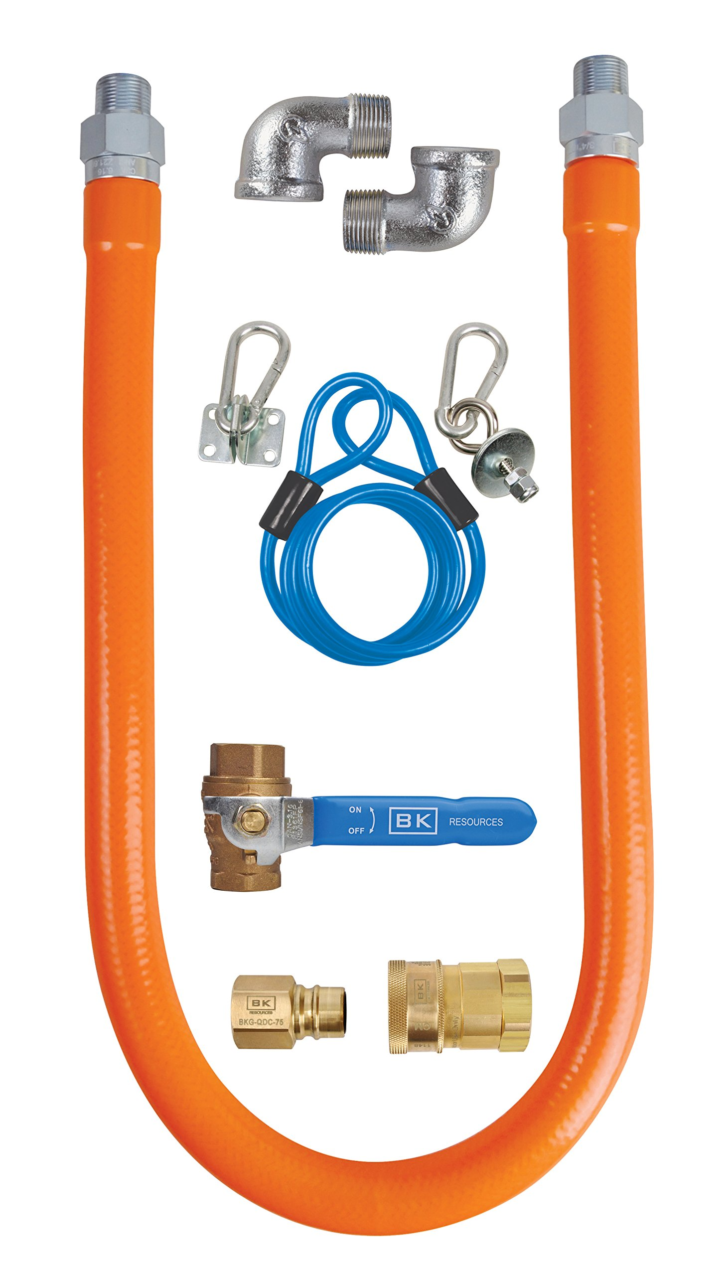 BK Resources Gas Hose Connection Kit #3 with Accessories, 1/2 Inch Diameter, 48 Inch Long Hose