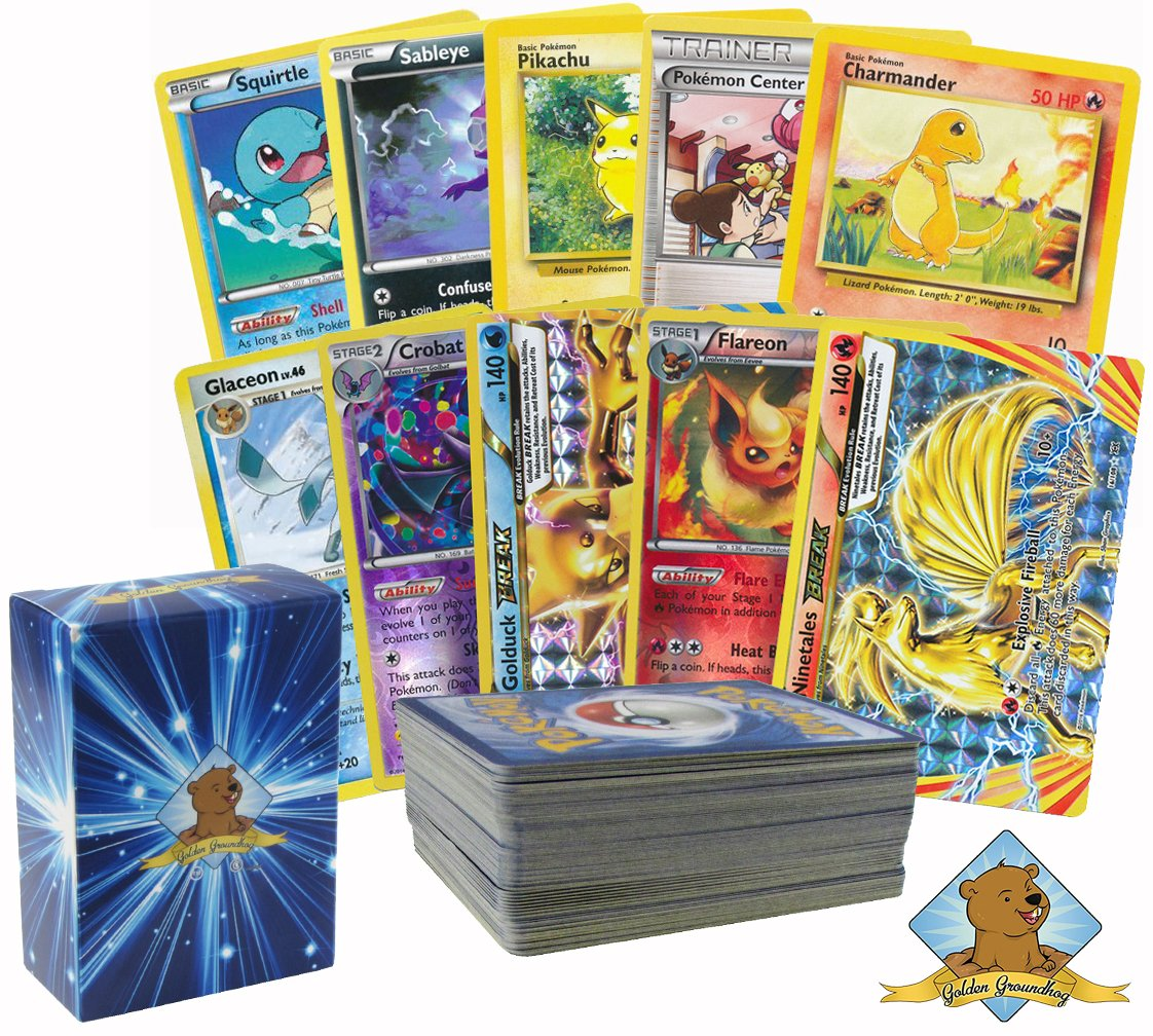 Pokemon 100 Card Lot with Foils, Rares and 2 Break Rares No Duplication By Golden Groundhog