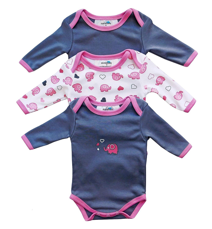 Slumberbaby Baby Body a Maniche Lunghe ELEFANTE ROSA, Pacco da 3 – taglia 2: 68cm Pacco da 3 - taglia 2: 68cm Slumbersac