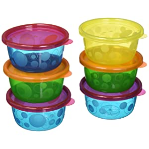 The First Years Sava Semi Disposable Bowls with Lids (8 oz/236 ml) (Colours May Vary) (Pack of 7)