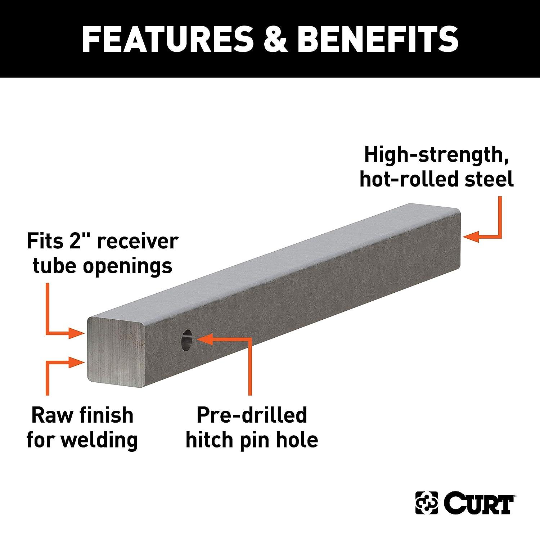 CURT 49534  2-Inch x 20-Inch Weld-On Raw Steel Trailer Hitch Bar Shank
