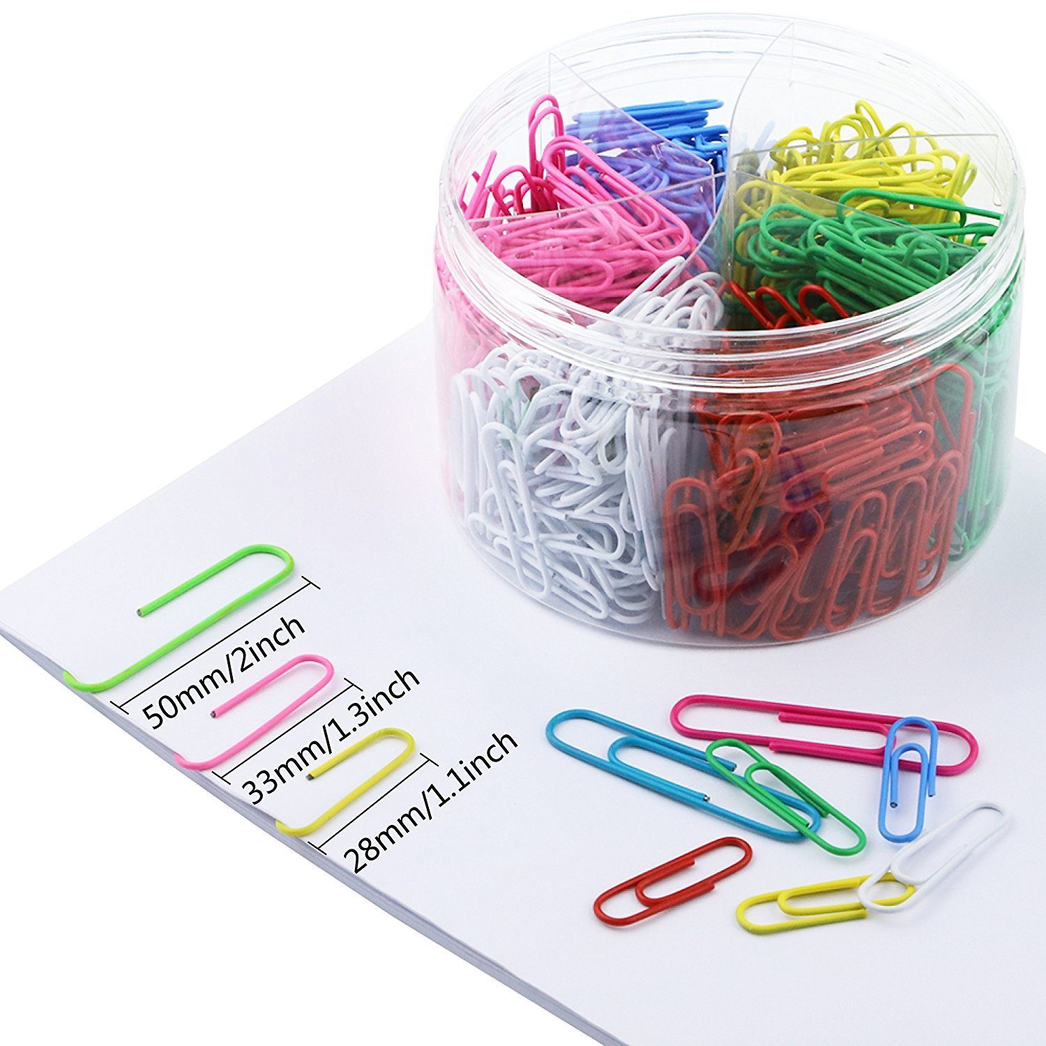 650 Pieces Colored Paperclips, Jumbo 50mm, Medium 33mm & Small 28mm, Assorted Office Clips for School, Work or Organizing (500 + 150 Bonus)