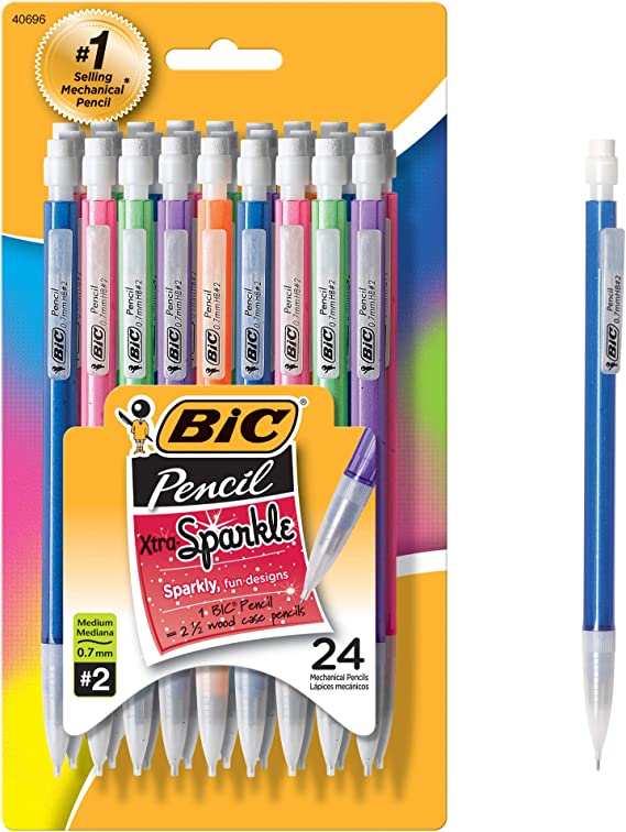 Refillable Design for Long-Lasting Use 48-Count 2 Pack Medium Point 0.7 mm Colorful Barrel BIC Xtra Sparkle Mechanical Pencil