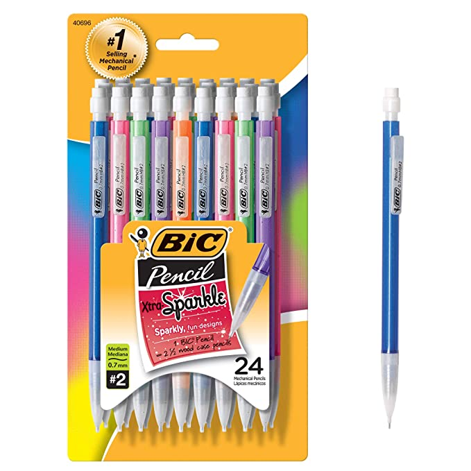 BIC Xtra-Sparkle Mechanical Pencil, Medium Point (0.7 mm), 24-Count