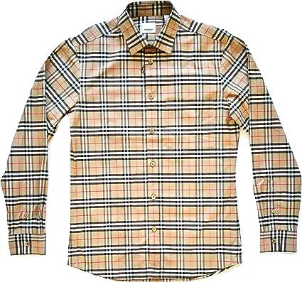 Burberry 80209661 - Camisa de manga larga de algodón para hombre, color beige Check Beige XL: Amazon.es: Ropa y accesorios