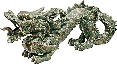 Amazon.com : Design Toscano EU9306 Asian Dragon of the Great Wall Garden Statue, Medium, 21 Inch, Polyresin, Bronze Verdigris Finish : Wall Statues For Garden Walls : Garden & Outdoor
