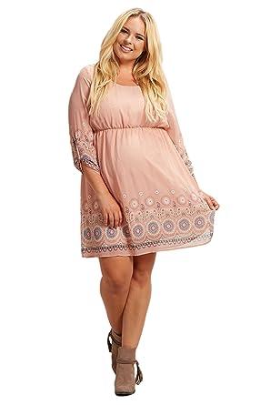 ca58be4f40b1 PinkBlush Maternity Light Pink Paisley Border Chiffon Plus Size Dress, 1X