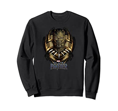 Unisex Marvel Black Panther Movie Killmonger Gold Jaguar Sweatshirt 2XL Black