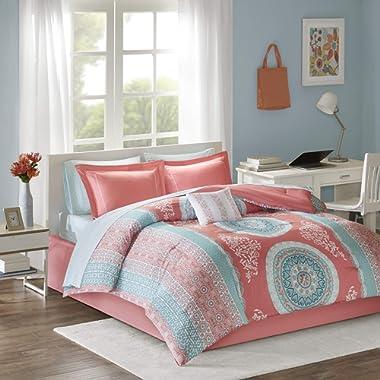 Intelligent Design Loretta Comforter Set Queen Size Bed in A Bag - Coral, Aqua, Bohemian Chic Medallion – 9 Piece Bed Sets – Ultra Soft Microfiber Teen Bedding for Girls Bedroom