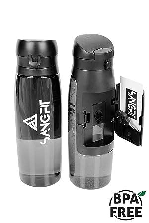 sangfit Botella con compartimento para llaves, dinero y tarjetas de varios. BPA libre.