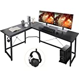 """AuAg Modern L-Shaped Home Office Desk 66"""" Sturdy Computer PC Laptop Table Corner Desk Workstation Larger Gaming Desk…"""