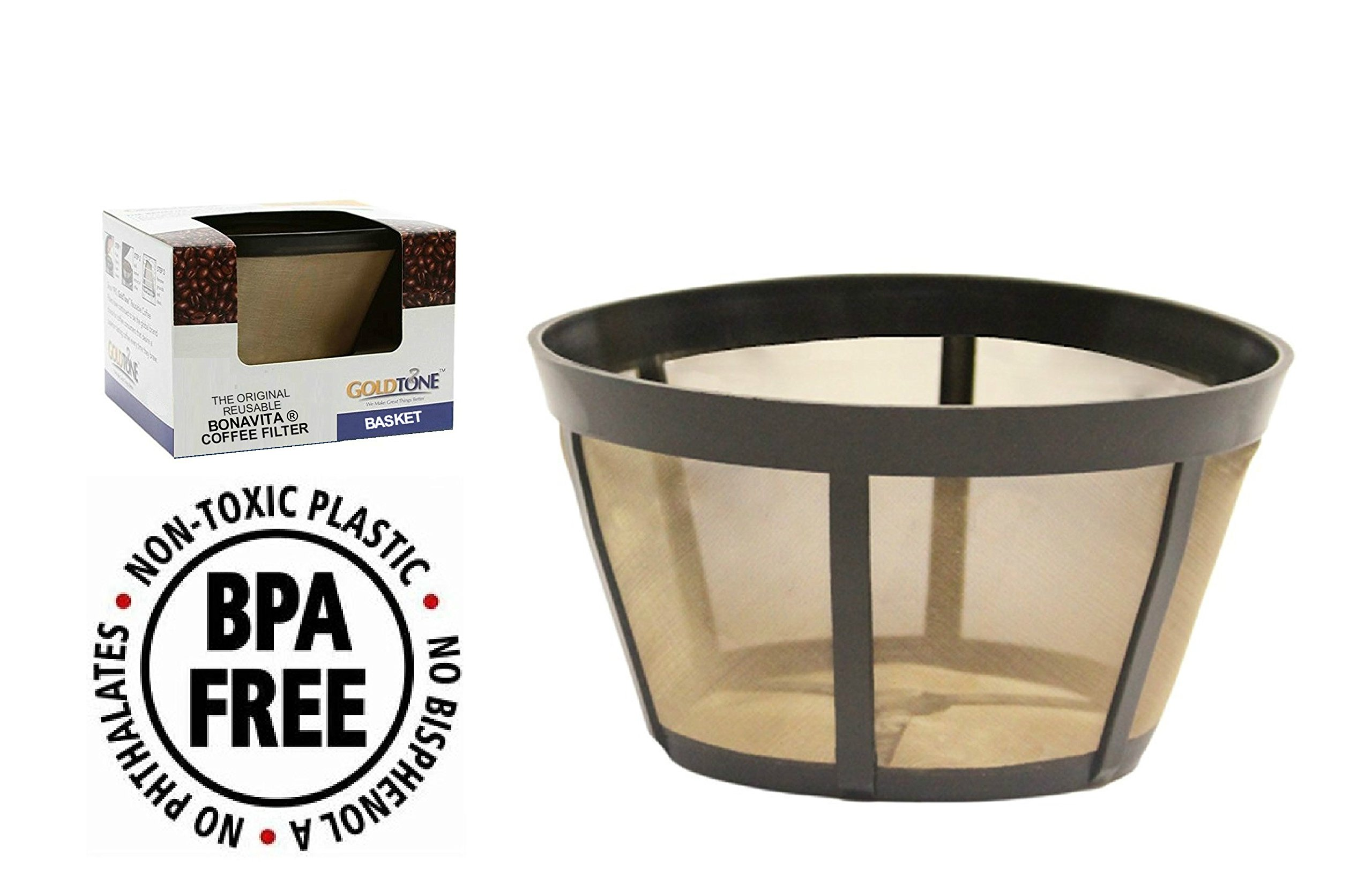 GoldTone Brand Reusable Basket Filter fits Bonavita Coffee Makers and Brewers. Replaces your Bonavita Coffee Filter and Bonavita Reusable Coffe Filter