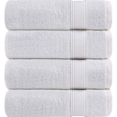 Utopia Towels Premium Bath Towels, 4 Pack, 700 GSM Towels, White