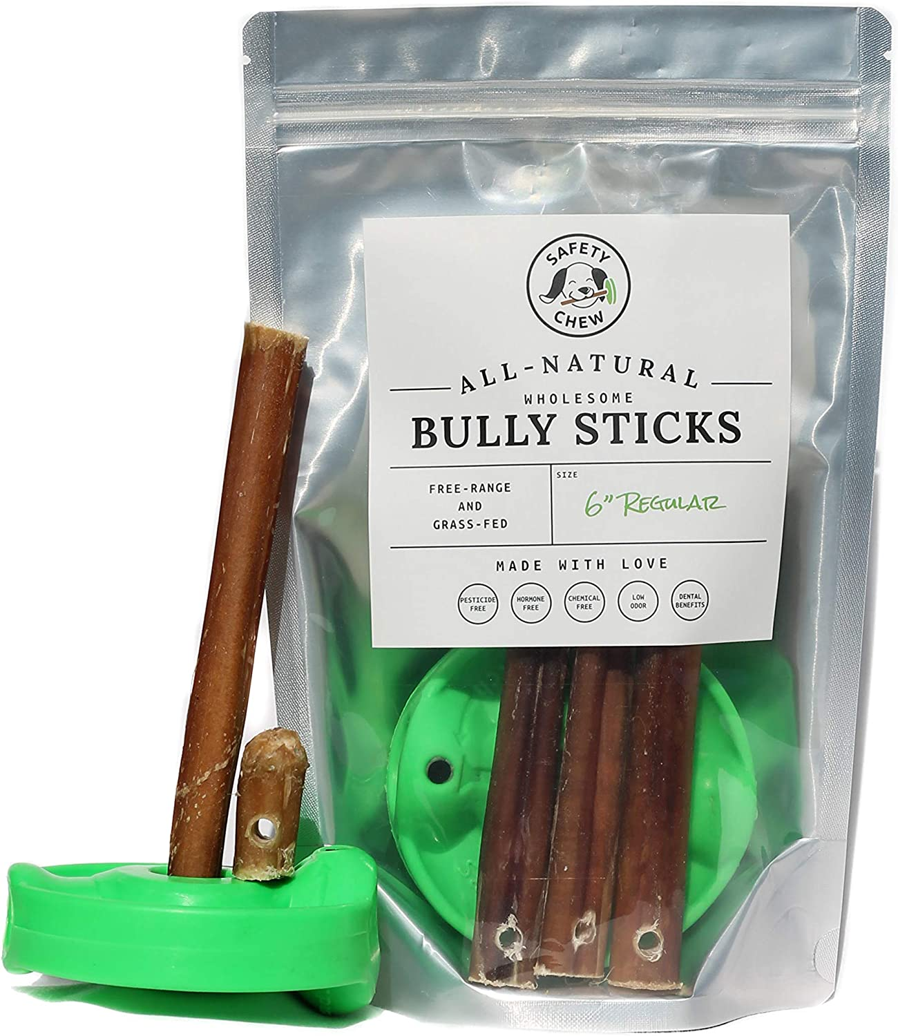 SafetyChew Bully Stick Holder | Made in USA | All-Natural Free-Range Dog Chews Starter Pack