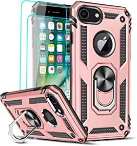 LeYi Compatible for iPhone 8 Case, iPhone 7 Case, iPhone 6s/ 6 Case with [2 Pack] Tempered Glass Screen Protector, Military-Grade Phone Case with Ring Kickstand for iPhone 6/6s/7/8, Rose Gold