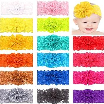 Amazon Ded 16 Colors Lace Bows Baby Headbands 4 Big Chiffon