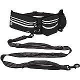 Kruz Jogging Belt & Hands Free Dog Leash - KZJBELT - Retractable Shock Absorbing Bungee Leash with Waist Belt - Running, Walk