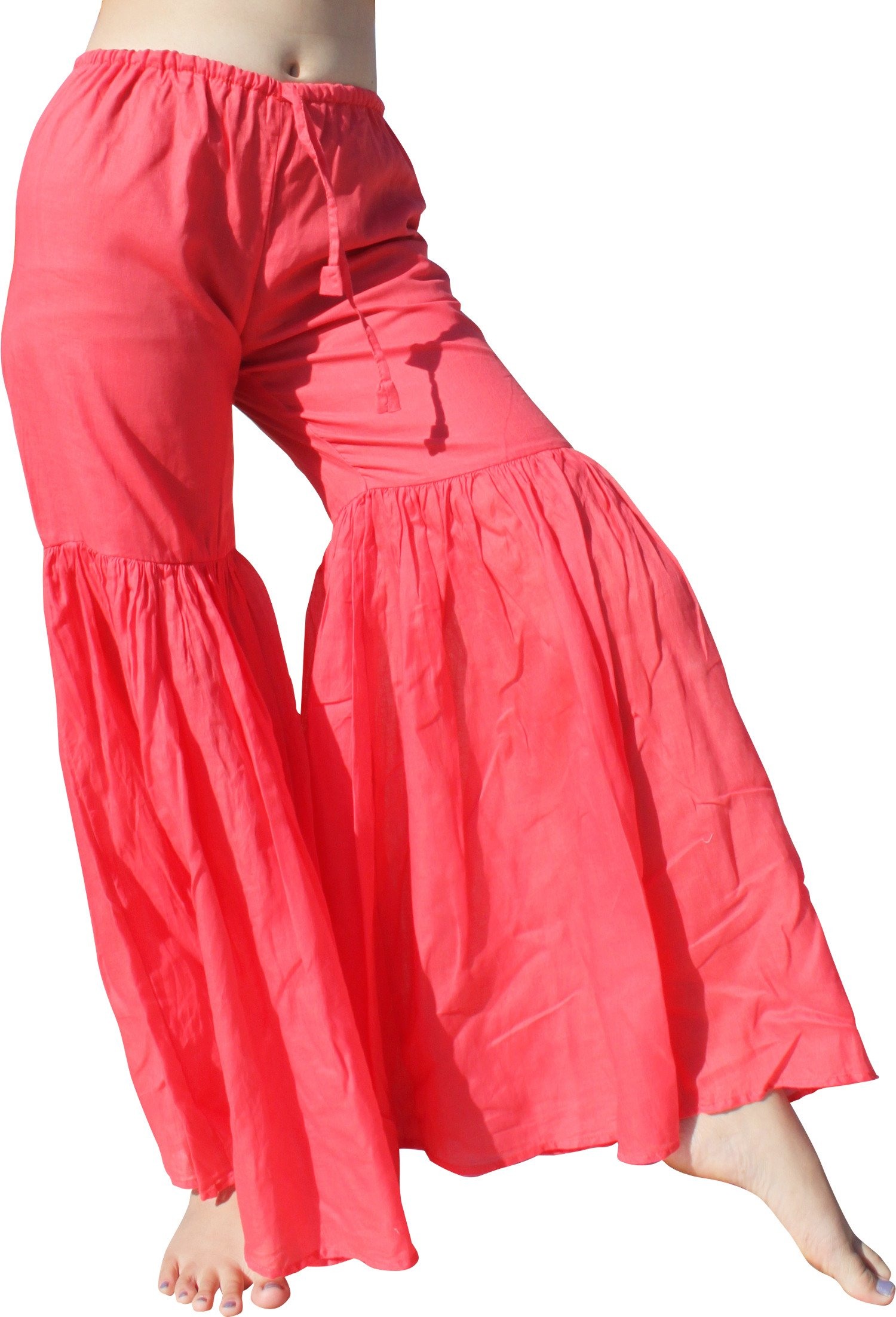 Raan Pah Muang RaanPahMuang Brand Wide Lower Leg Flared Light Cotton Stepped Pants Baggy Cut, Small, Rose Pink by Raan Pah Muang