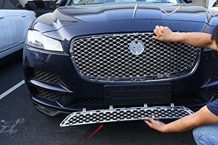 Front Grill Cover For Jag For F-Pace F Pace X761 2016 2017 2018 Car ABS Chrome Front Grill Cover Trim Auto Replacement Parts 1PC
