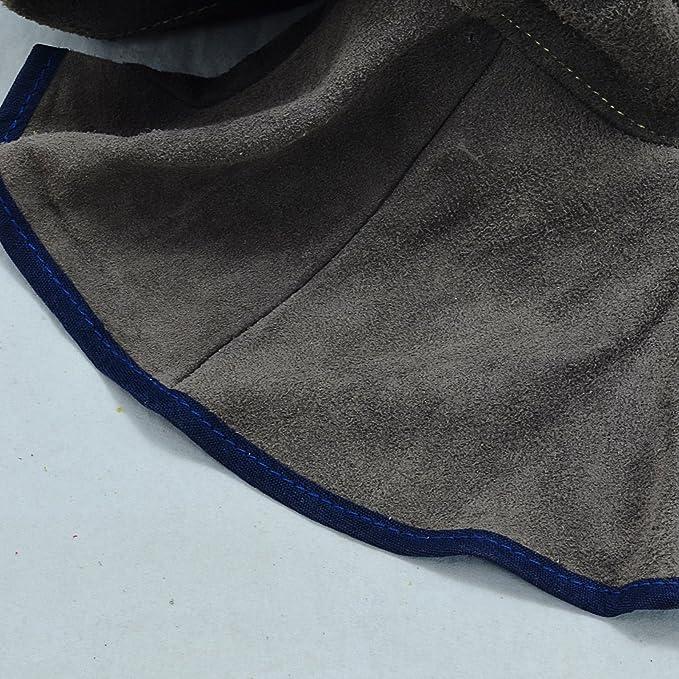 Casco de capucha de soldadura de cuero marrón con cuello de cuello: Amazon.es: Bricolaje y herramientas