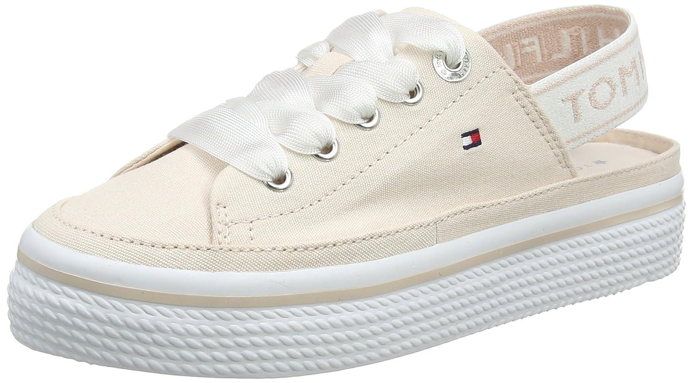 Tommy Hilfiger Pastel Sling Back Flatform, Zapatillas para Mujer 36 EU|Plateado (Silver Peony 642)