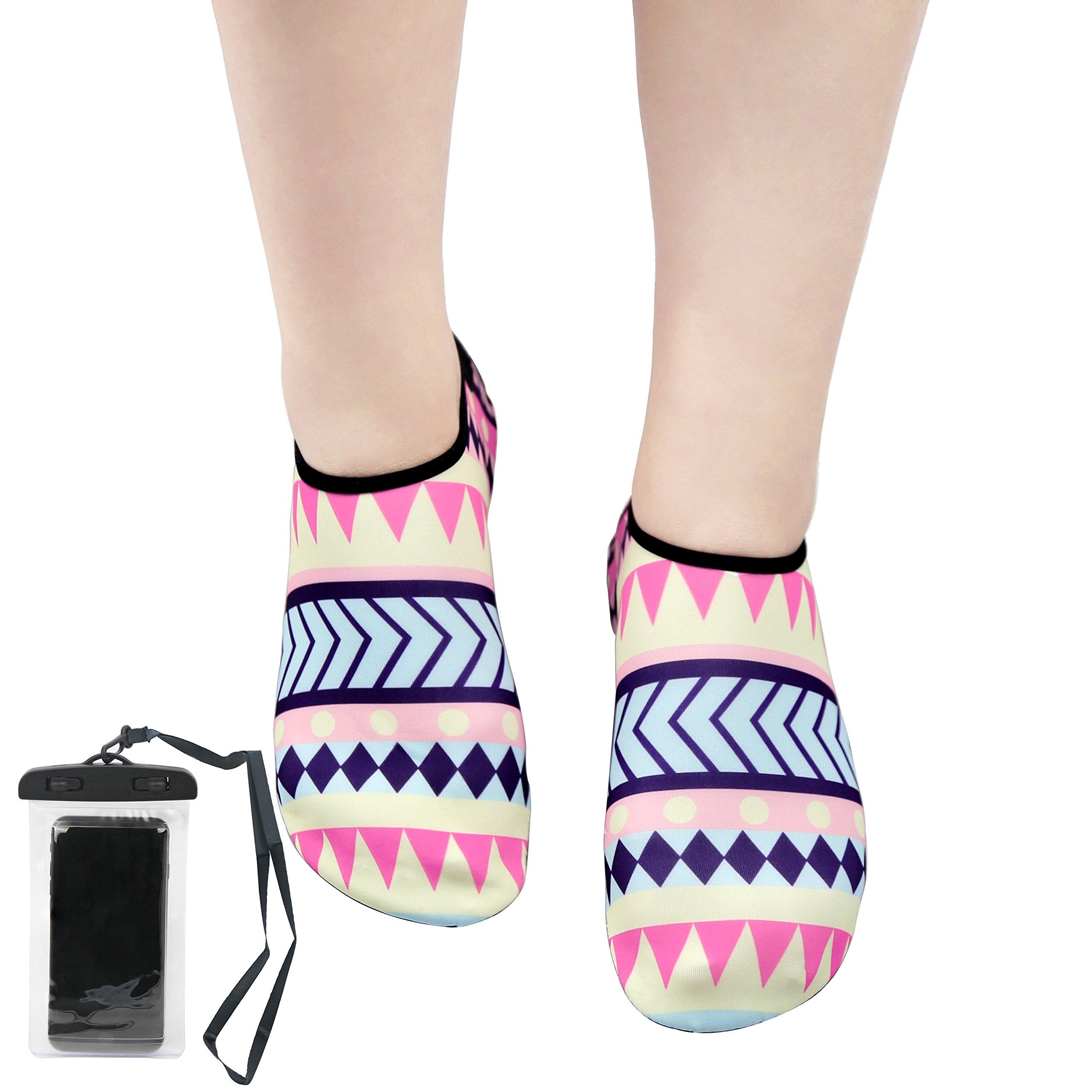 Jingshen Shop Womens and Mens Water Sports Shoes Summer Outdoor Quick-Dry Aqua Socks for Beach Swim Surf Yoga Exercise(L(US Women 9.5-10.5/Men 8.5-9), Bohemian)