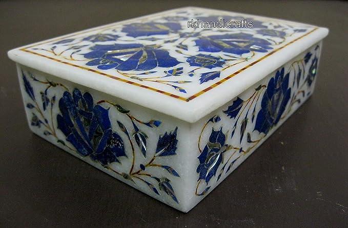 5x5x2 Octagon Marble Jewelry Box Tiger Eye Semi Precious Stone Inlay Works Antique Rare Gifts