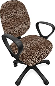 Lunarable Yellow Ombre Office Chair Slipcover, Leopard Skin Spots Fur Inspired Color Transitioning Ornamental Illustration, Protective Stretch Decorative Fabric Cover, Standard Size, Beige Caramel