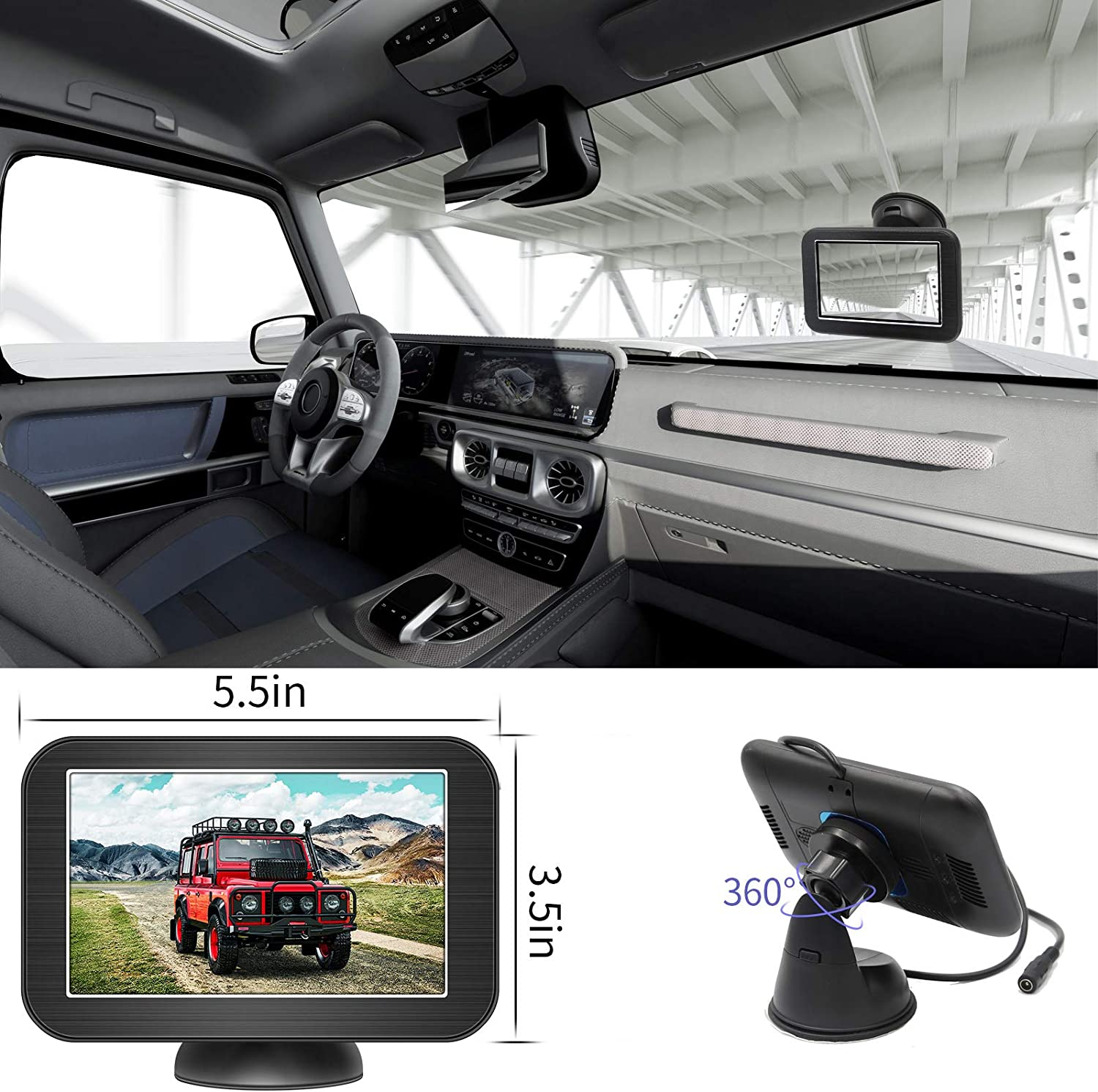 Trucks SUV B-Qtech 5 Wireless Backup Camera and Monitor Kit丨Waterproof Night Vision Front//Rear View Camera with Grid Line丨Easy Installation for Cars Camping Car Pickups