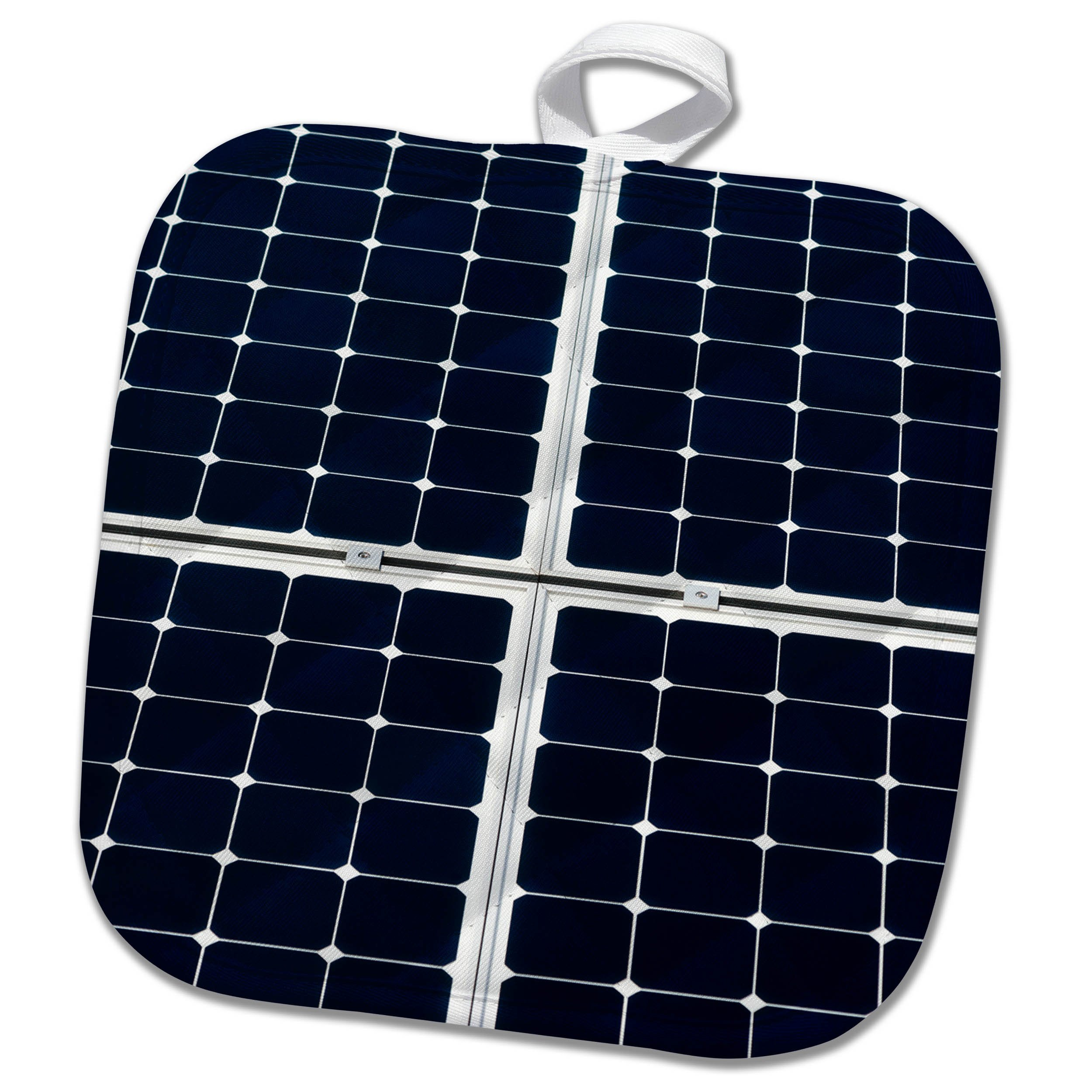 3dRose Alexis Photography - Objects - Dark blue solar power panel divided into four parts by white frames - 8x8 Potholder (phl_271345_1)