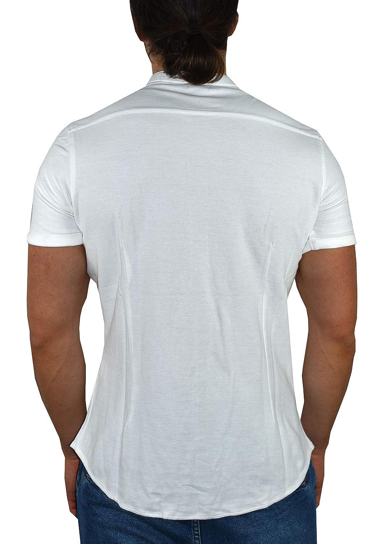 Polo Camicia con Collo alla Coreana Chiusura a Bottoni Tinta Unita 1stAmerican Polo Mezza Manica da Uomo 100/% Piquet Cotone Tinta Unita