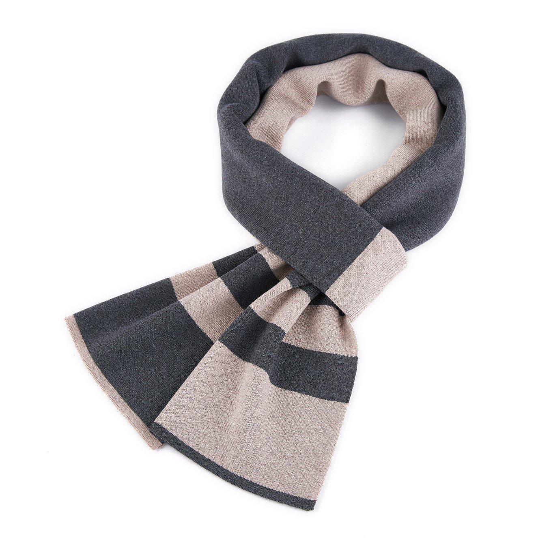VINMEN Men Scarf Winter Cashmere Long Warmth Scarves, Navy/Grey