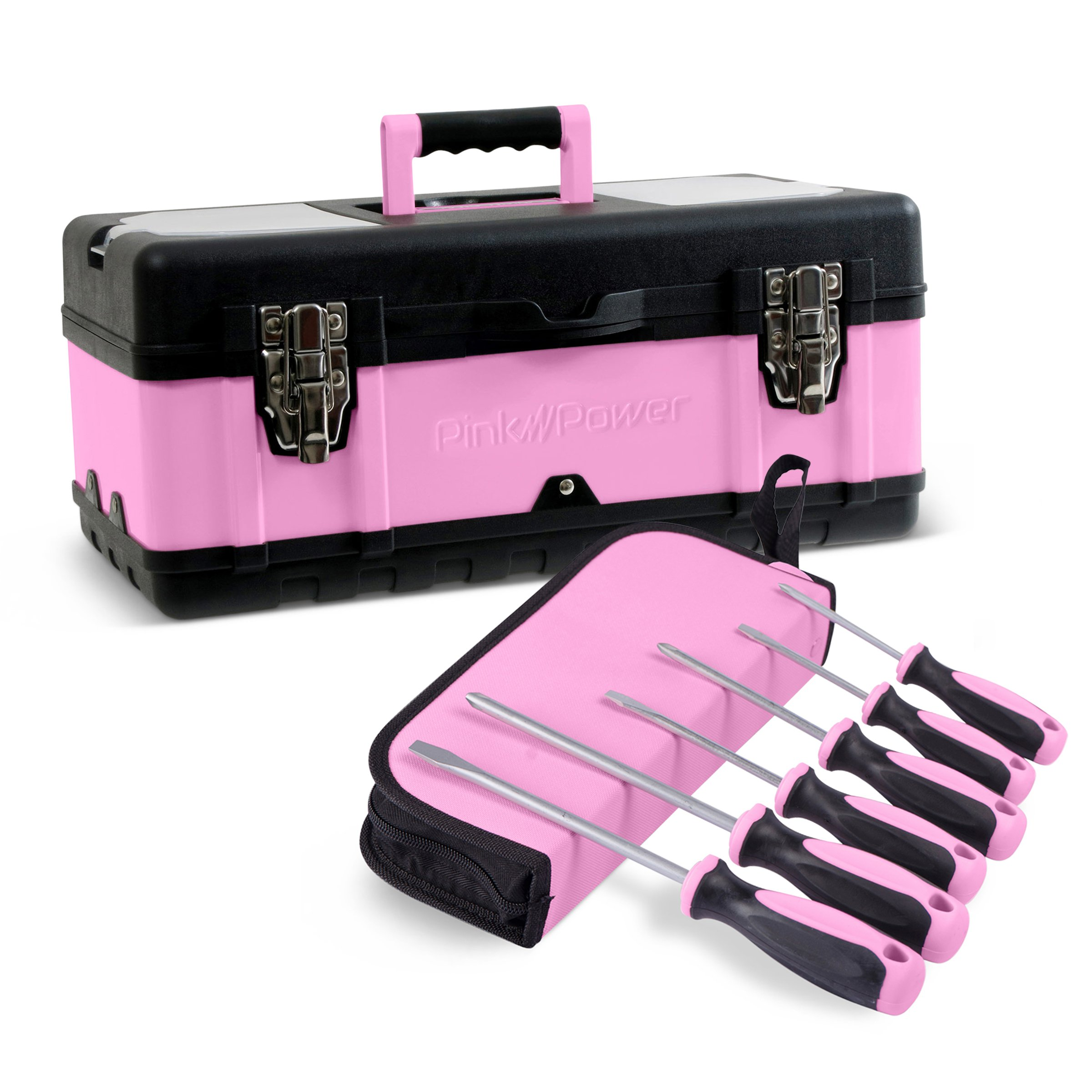 "Pink Power 18"" Portable Aluminum Tool Box & 6 Piece Screwdriver Set for Women"