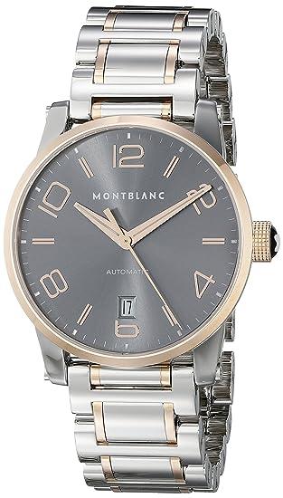 Montblanc Timewalker Automático Fecha Hombre Gris dial acero oro rosa suizo reloj 106501