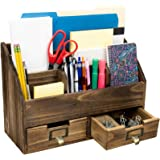 Rustic Wood Office Desk Organizer: Includes 6 Compartments and 2 Drawers to Organize Desk Accessories, Mail, Pens, Notebooks,
