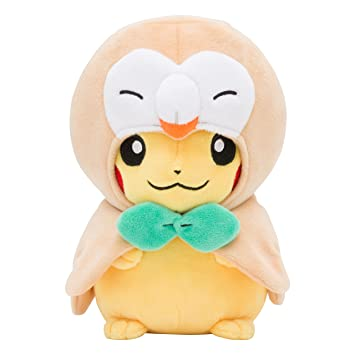 Pokemon Center Original Plush Doll Rowlet Poncho Pikachu