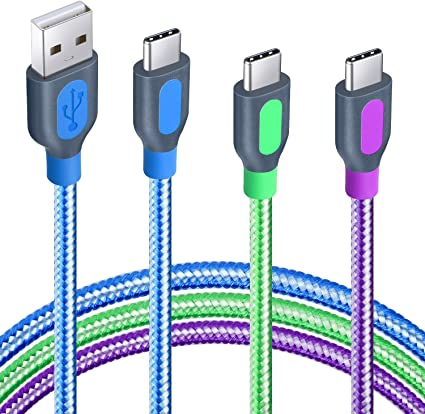 Blue Purple Eversame 2-Pack Dual USB Charger Adapter Plug with 2-Pack 10Ft Nylon Braided USB C Cable Compatible for Galaxy S9//S8//S8+//Note 8 USB Type C Cable