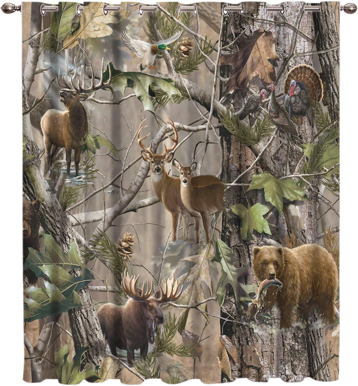 FortuneHouse8 Thermal Insulated Blackout Curtains for Sliding Door, Real Camo Tree Rustic Deer Elk Bird Bear Window Drapes Darkening Room for Living Room Bedroom, 1 Panel 52