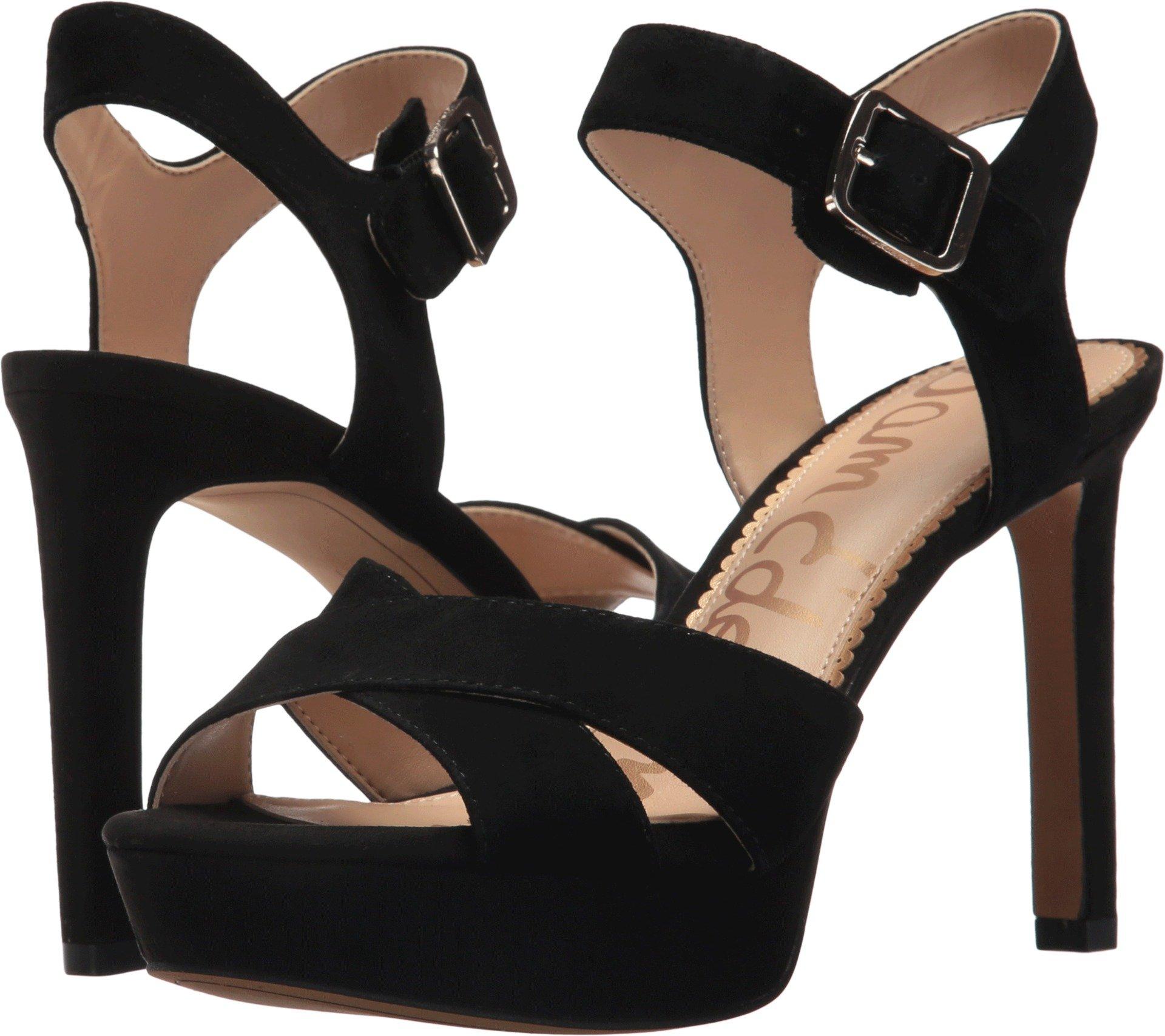Sam Edelman Women's Jordan Heeled Sandal, Black Suede, 6.5 Medium US