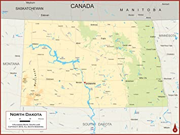Amazon.com : Academia Maps - North Dakota State Wall Map ...