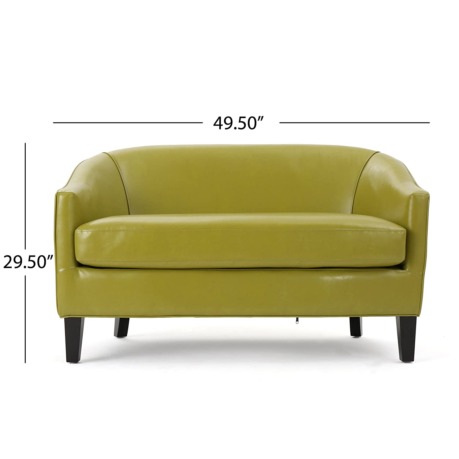 amazoncom isolde modern petite loveseat fabric or leather green leather kitchen u0026 dining
