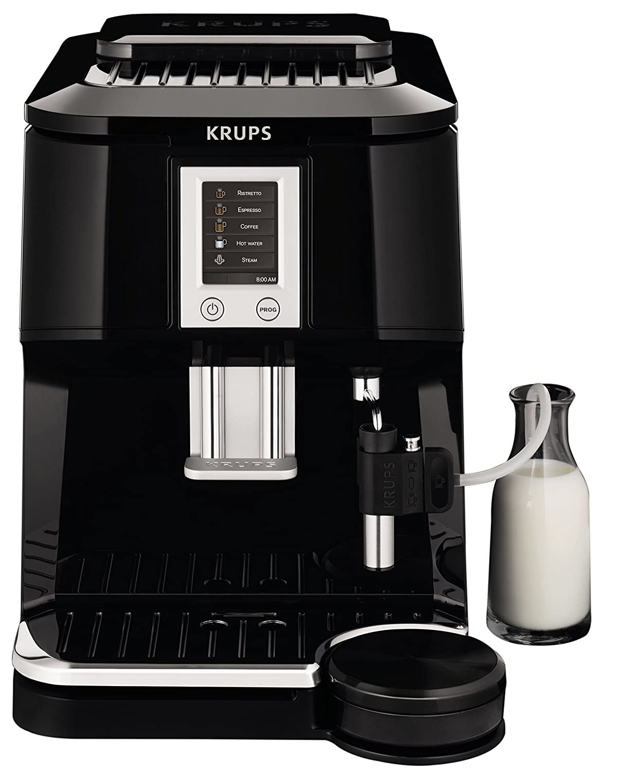 amazoncom krups ea8442 falcon fully automatic espresso and cappuccino machine with latte tray and builtin conical burr grinder 58ounce black kitchen