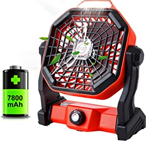 Portable Camping Fan with LED Lantern,7800mAh Battery Operated Powered Fan,Personal USB Small Desk Fan,USB Rechargeable Tent Fan with Hanging Hook for Outdoor,Bedroom,Home,Table, Office, Travel(Red)